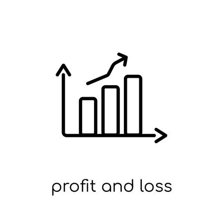 Profit and loss account icon. Trendy modern flat linear vector Profit and loss account icon on white background from thin line business collection, editable outline stroke vector illustration