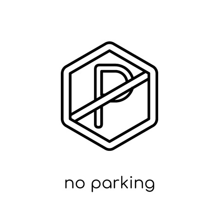 No parking sign icon. Trendy modern flat linear vector No parking sign icon on white background from thin line traffic sign collection, editable outline stroke vector illustration