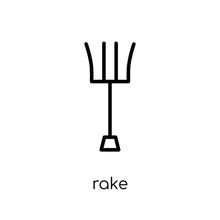 rake icon. Trendy modern flat linear vector rake icon on white background from thin line Agriculture, Farming and Gardening collection, outline vector illustration Иллюстрация