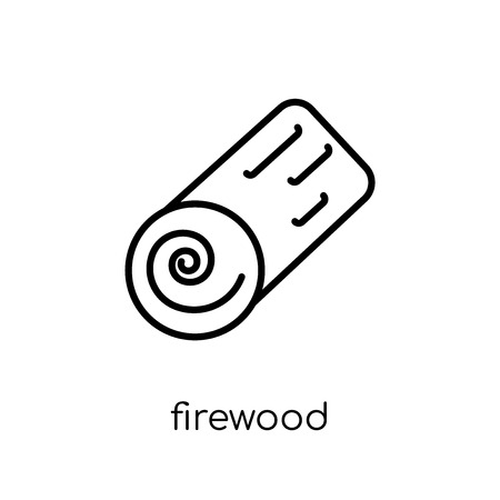 firewood icon. Trendy modern flat linear vector firewood icon on white background from thin line Camping collection, outline vector illustration Stock Vector - 111326818