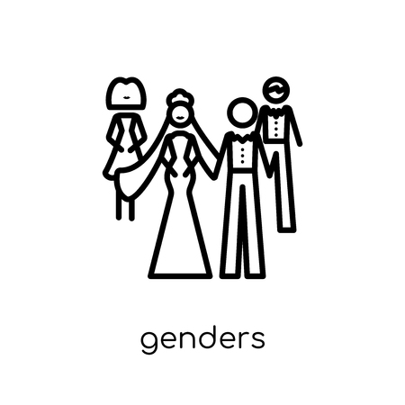 genders icon. Trendy modern flat linear vector genders icon on white background from thin line Wedding and love collection, outline vector illustration