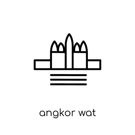 Angkor wat icon. Trendy modern flat linear vector Angkor wat icon on white background from thin line Architecture and Travel collection, editable outline stroke vector illustration
