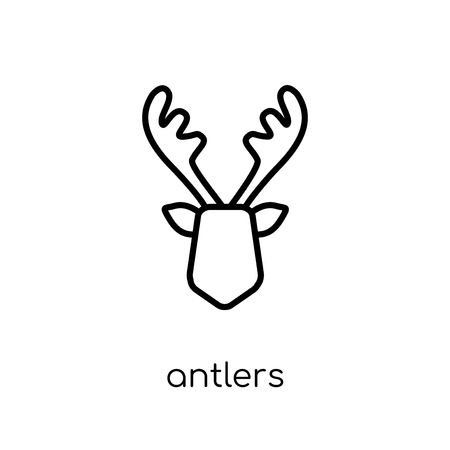 antlers icon. Trendy modern flat linear vector antlers icon on white background from thin line Christmas collection, outline vector illustration Vector Illustratie