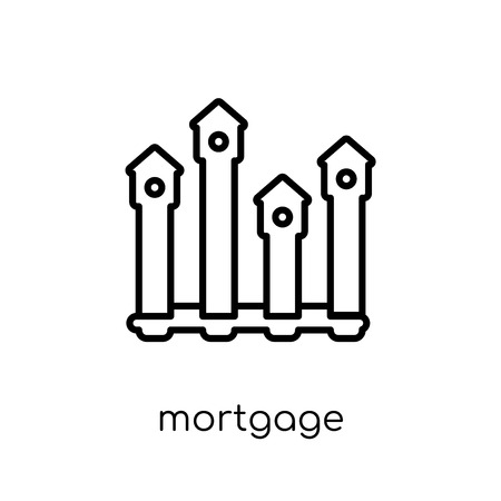 Mortgage statistics icon. Trendy modern flat linear vector Mortgage statistics icon on white background from thin line Business and analytics collection, editable outline stroke vector illustration Ilustracja