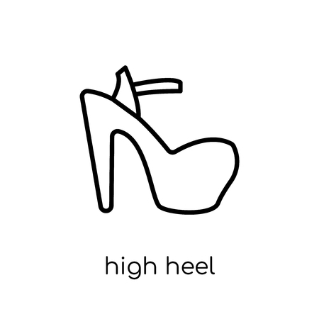 high heel icon. Trendy modern flat linear vector high heel icon on white background from thin line collection, outline vector illustration Ilustração