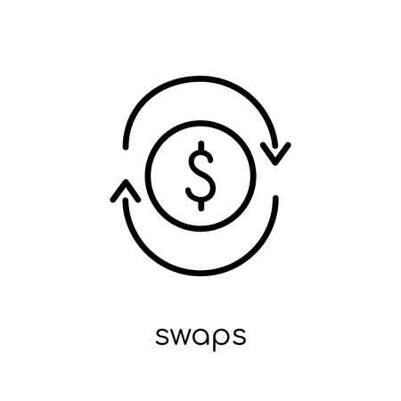 Swaps icon. Trendy modern flat linear vector Swaps icon on white background from thin line business collection, editable outline stroke vector illustration