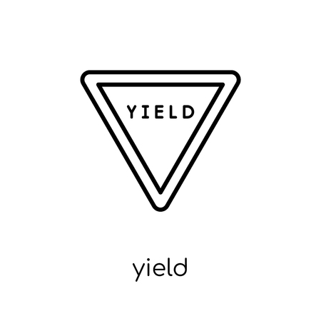 Yield sign icon. Trendy modern flat linear vector Yield sign icon on white background from thin line traffic sign collection, editable outline stroke vector illustration Çizim
