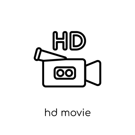 HD Movie icon. Trendy modern flat linear vector HD Movie icon on white background from thin line Cinema collection, editable outline stroke vector illustration