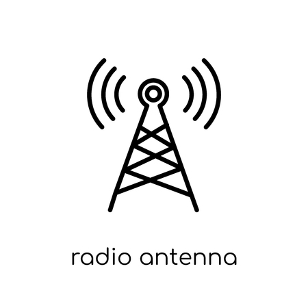 radio antenna icon. Trendy modern flat linear vector radio antenna icon on white background from thin line Communication collection, outline vector illustration Çizim