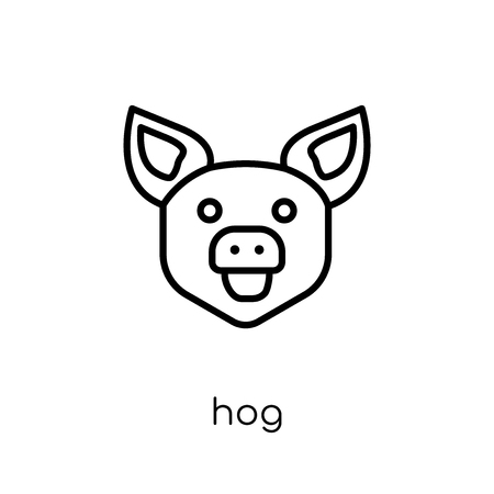 Hog icon. Trendy modern flat linear vector Hog icon on white background from thin line animals collection, editable outline stroke vector illustration Illustration