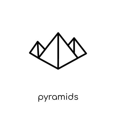 Icône de pyramides. Icône moderne dernier cri de pyramides plat linéaire vectoriel sur fond blanc de la mince ligne collection Architecture et voyage, illustration de vecteur editable contour AVC