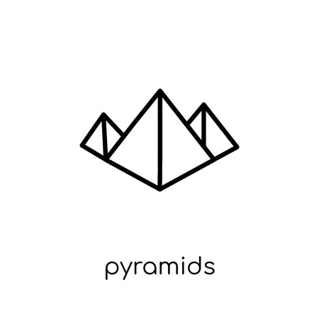 Pyramids icon. Trendy modern flat linear vector Pyramids icon on white background from thin line Architecture and Travel collection, editable outline stroke vector illustration