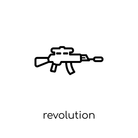 revolution icon. Trendy modern flat linear vector revolution icon on white background from thin line Army collection, outline vector illustration Illustration