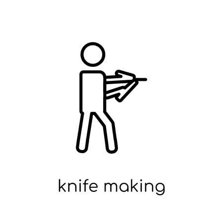 Knife making icon. Trendy modern flat linear vector Knife making icon on white background from thin line Activity and Hobbies collection, editable outline stroke vector illustration