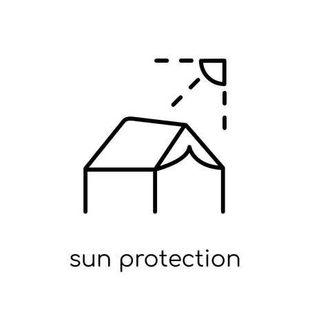 sun protection icon. Trendy modern flat linear vector sun protection icon on white background from thin line Camping collection, outline vector illustration Stock Vector - 112417725