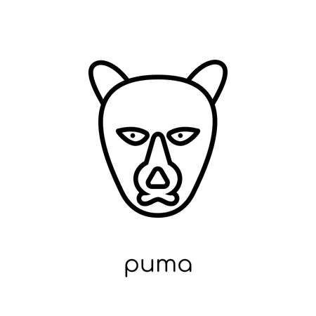puma icon. Trendy modern flat linear vector puma icon on white background from thin line animals collection, editable outline stroke vector illustration