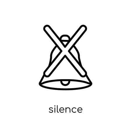 Silence icon. Trendy modern flat linear vector Silence icon on white background from thin line Cinema collection, editable outline stroke vector illustration Illustration