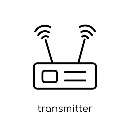 transmitter icon. Trendy modern flat linear vector transmitter icon on white background from thin line Communication collection, outline vector illustration