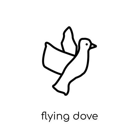 Flying Dove icon. Trendy modern flat linear vector Flying Dove icon on white background from thin line animals collection, editable outline stroke vector illustration Ilustração