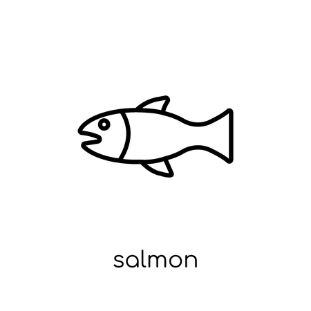 Salmon icon. Trendy modern flat linear vector Salmon icon on white background from thin line animals collection, editable outline stroke vector illustration