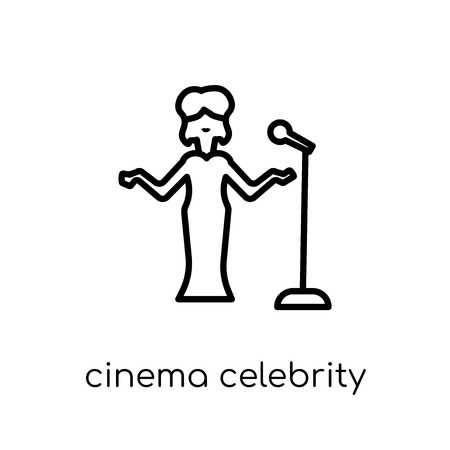 cinema celebrity icon. Trendy modern flat linear vector cinema celebrity icon on white background from thin line Cinema collection, editable outline stroke vector illustration Stock Illustratie