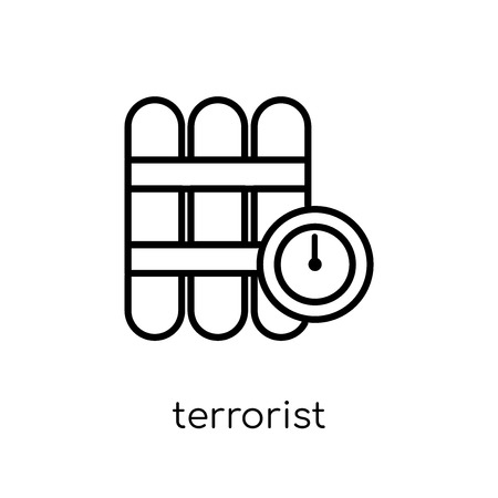 terrorist icon. Trendy modern flat linear vector terrorist icon on white background from thin line Army collection, outline vector illustration