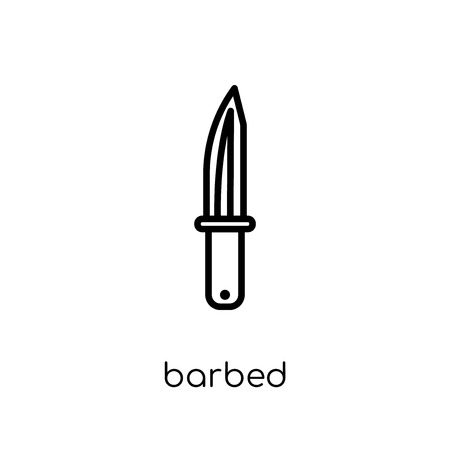barbed icon. Trendy modern flat linear vector barbed icon on white background from thin line Army collection, outline vector illustration Banco de Imagens - 112417770