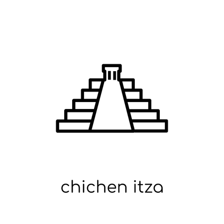 Chichen Itza icon. Trendy modern flat linear vector Chichen Itza icon on white background from thin line Architecture and Travel collection, editable outline stroke vector illustration