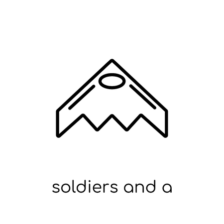 soldiers and a weapon icon. Trendy modern flat linear vector soldiers and a weapon icon on white background from thin line Army collection, outline vector illustration Ilustração