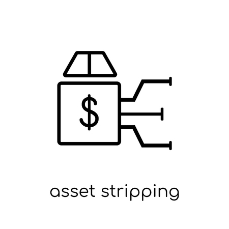 asset stripping icon. Trendy modern flat linear vector asset stripping icon on white background from thin line Asset stripping collection, outline vector illustration