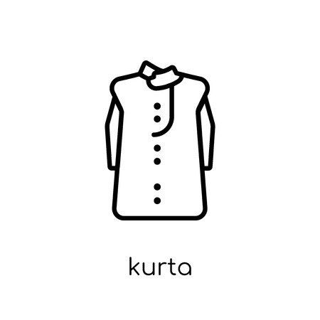 kurta icon. Trendy modern flat linear vector kurta icon on white background from thin line Kurta collection, outline vector illustration Illustration