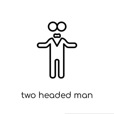 two headed man icon. Trendy modern flat linear vector two headed man icon on white background from thin line Circus collection, outline vector illustration