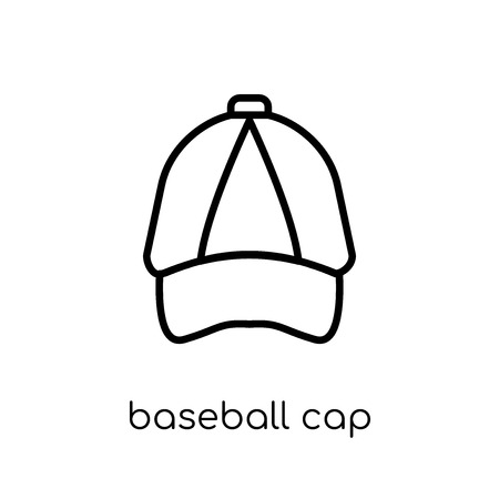 baseball cap icon. Trendy modern flat linear vector baseball cap icon on white background from thin line collection, outline vector illustration