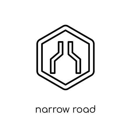 Narrow road sign icon. Trendy modern flat linear vector Narrow road sign icon on white background from thin line traffic sign collection, editable outline stroke vector illustration