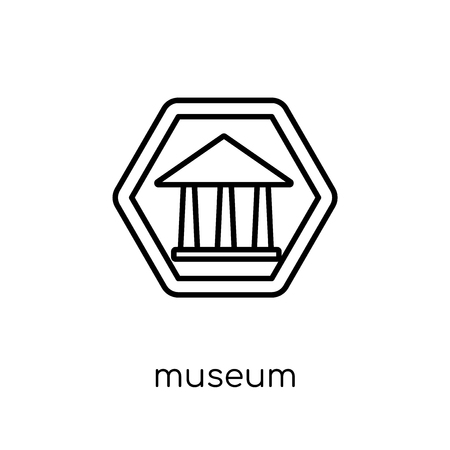 Museum sign icon. Trendy modern flat linear vector Museum sign icon on white background from thin line traffic sign collection, editable outline stroke vector illustration Zdjęcie Seryjne - 112417884