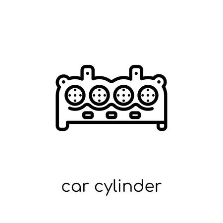 icona del cilindro dell'auto. Icona moderna tendenza di cilindro auto piatto lineare di vettore su priorità bassa bianca da collezione di parti di auto di linea sottile, illustrazione di vettore del profilo
