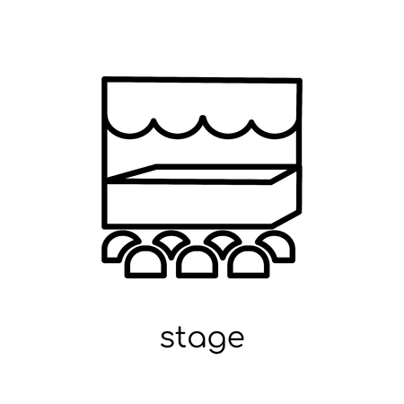 Stage icon. Trendy modern flat linear vector Stage icon on white background from thin line Cinema collection, editable outline stroke vector illustration