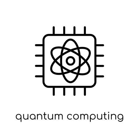 icône de l'informatique quantique. Icône moderne dernier cri de calcul quantique plat linéaire vectoriel sur fond blanc de la fine ligne Intelligence artificielle, collection Future Technology, contour vector illustration