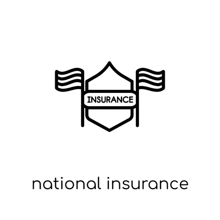 National insurance icon. Trendy modern flat linear vector National insurance icon on white background from thin line Business collection, editable outline stroke vector illustration Ilustracja