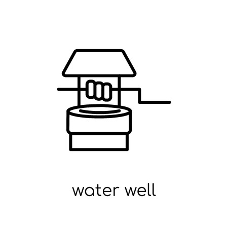 water well icon. Trendy modern flat linear vector water well icon on white background from thin line Agriculture, Farming and Gardening collection, outline vector illustration