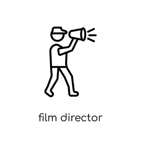 Film director icon. Trendy modern flat linear vector Film director icon on white background from thin line Cinema collection, editable outline stroke vector illustration Ilustracja