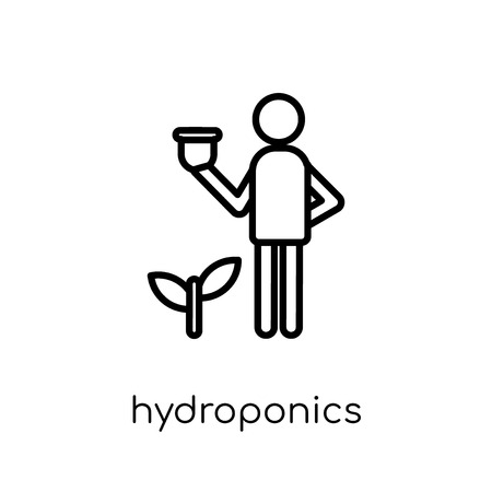 Hydroponics icon. Trendy modern flat linear vector Hydroponics icon on white background from thin line Activity and Hobbies collection, editable outline stroke vector illustration