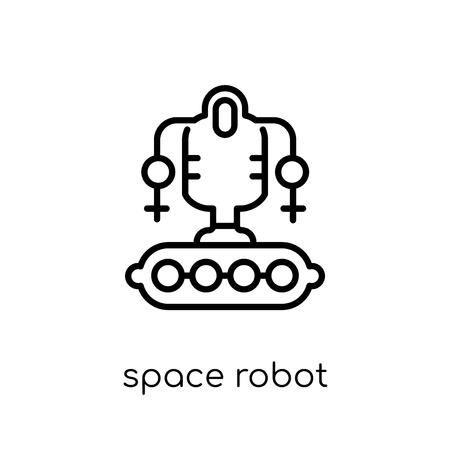 space robot icon. Trendy modern flat linear vector space robot icon on white background from thin line Astronomy collection, outline vector illustration Illustration
