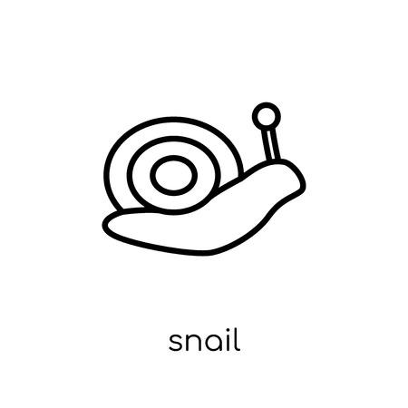 Icono de caracol. Moda moderno icono de caracol vector plano lineal sobre fondo blanco de colección de animales de línea fina, Ilustración de vector de movimiento editables contorno
