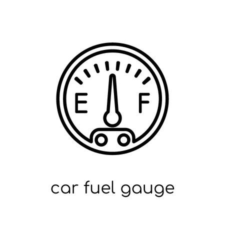 icona dell'indicatore di livello del carburante per auto. Icona moderna tendenza di indicatore di livello carburante auto piatto lineare di vettore su priorità bassa bianca da collezione di parti di auto di linea sottile, illustrazione di vettore del profilo