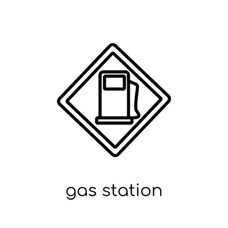 Gas station sign icon. Trendy modern flat linear vector Gas station sign icon on white background from thin line traffic sign collection, editable outline stroke vector illustration Фото со стока - 112418049