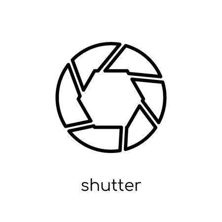 Icono de obturador. Moda moderno icono de obturador vector plano lineal sobre fondo blanco de la colección de cine de línea fina, Ilustración de vector de movimiento editables contorno Ilustración de vector