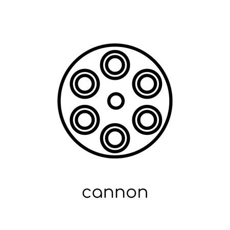cannon icon. Trendy modern flat linear vector cannon icon on white background from thin line Army collection, outline vector illustration Banque d'images - 112418052