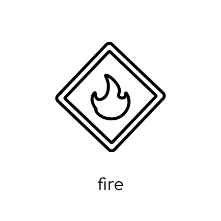 Fire sign icon. Trendy modern flat linear vector Fire sign icon on white background from thin line traffic sign collection, editable outline stroke vector illustration