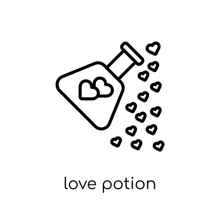 love potion icon. Trendy modern flat linear vector love potion icon on white background from thin line Wedding and love collection, outline vector illustration